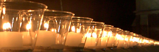 Candles commemorate victims of Sexual Assault.