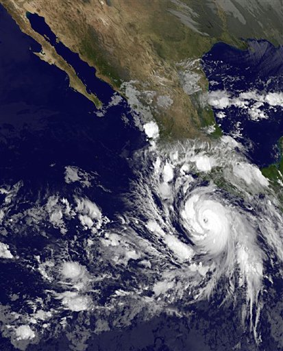 This image provided by NOAA shows Hurricane Rick taken at 2 a.m. EDT Saturday October 17,2009. The U.S. National Hurricane Center says that Hurricane Rick has strengthened early Saturday off Mexicos Pacific coast into a major category 3 storm with dangerous winds nearing 115 mph (185)kph. At 5 a.m.  EDT Saturday Rick was centered about 250 miles (400 Kilometers) southwest of Acapulco,Mexico and was moving west-northwest near 12mph(19 kph).