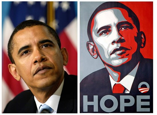 FILE - In this April 27, 2006 file photo, a poster of President Barack Obama, right, by artist Shepard Fairey is shown for comparison with this file photo of then-Sen. Barack Obama by Associated Press photographer Manny Garcia at the National Press Club in Washington. Attorneys for poster artist Shepard Fairey, who designed the famous Obama HOPE image, say he based it on a photograph taken by The Associated Press and not another picture, as the artist had claimed.