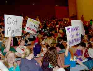 Student protest the Pathways proposal at a town hall meeting in Rousell Hall after the plan was announced in 2006.