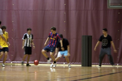 Andres Fagilde Fandiño, an exchange student from Spain, takes control of the ball in a match held in the Rec Plex. The futbol club was formed by international students.