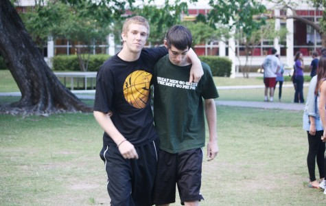Mass Communication sophomore Jonathan Cepelak and general studies sophomore Charles Walsh walk together during the 2011 Greek Week events. Loyola students are offered leadership and friendship opportunities during rush.