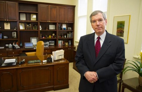 Edward Kvet, provost and vice president for academic affairs, in his office Wednesday, March 21. Kvet will retire after this semester.