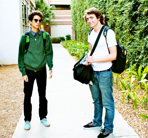 Loyola students Patrick DeHoyos and Thomas Eisenhood pose for a photo in the alleyway outside of the Orleans Room. DeHoyos is dressed as a hipster and Eisenhood is dressed normally. The hipster culture is a prominent part of college life at Loyola.