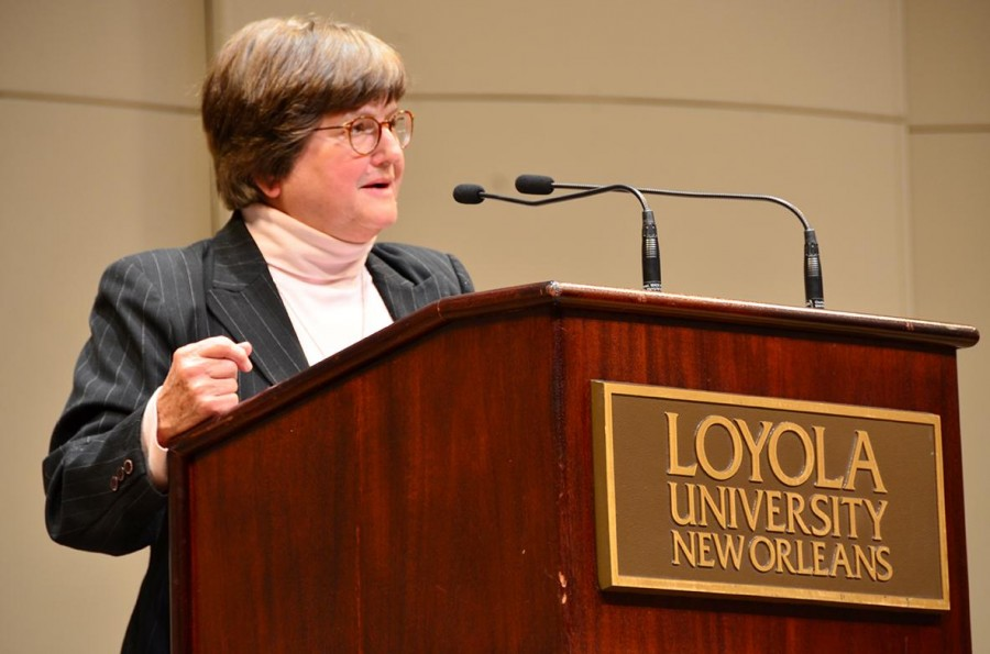 "Sr. Helen Prejean speaks to a crowd in Roussel Hall during her lecture entitled ""Christians as Catalysts Against the Death Penalty"