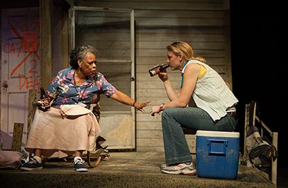"""Carol Sutton as Amelia Delachaise and Kerry Cahill as Marie Giudry exchange Hurricane Katrina evacuation stories. """"Mold"""", written by English Professor John Biguenet, is the fi nal play in a trilogy about the storm."""