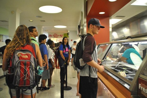 Students stand in line for new dining options in the Danna Student Center.