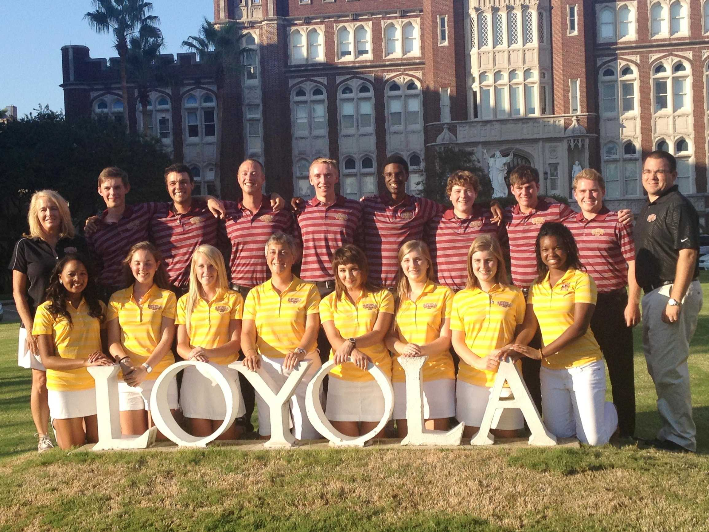 The men's and women's golf teams pose together for a photo.  The newly-added men's team will compete in the spring semester