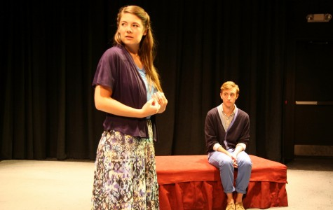 """Theatre arts senior Natalie Jones and mass communication senior Blaine Simon practice in the Lower Depths Theater before """"Patient A"""" opens this weekend. The play runs from Sept. 27-29 and from Oct. 3-5."""