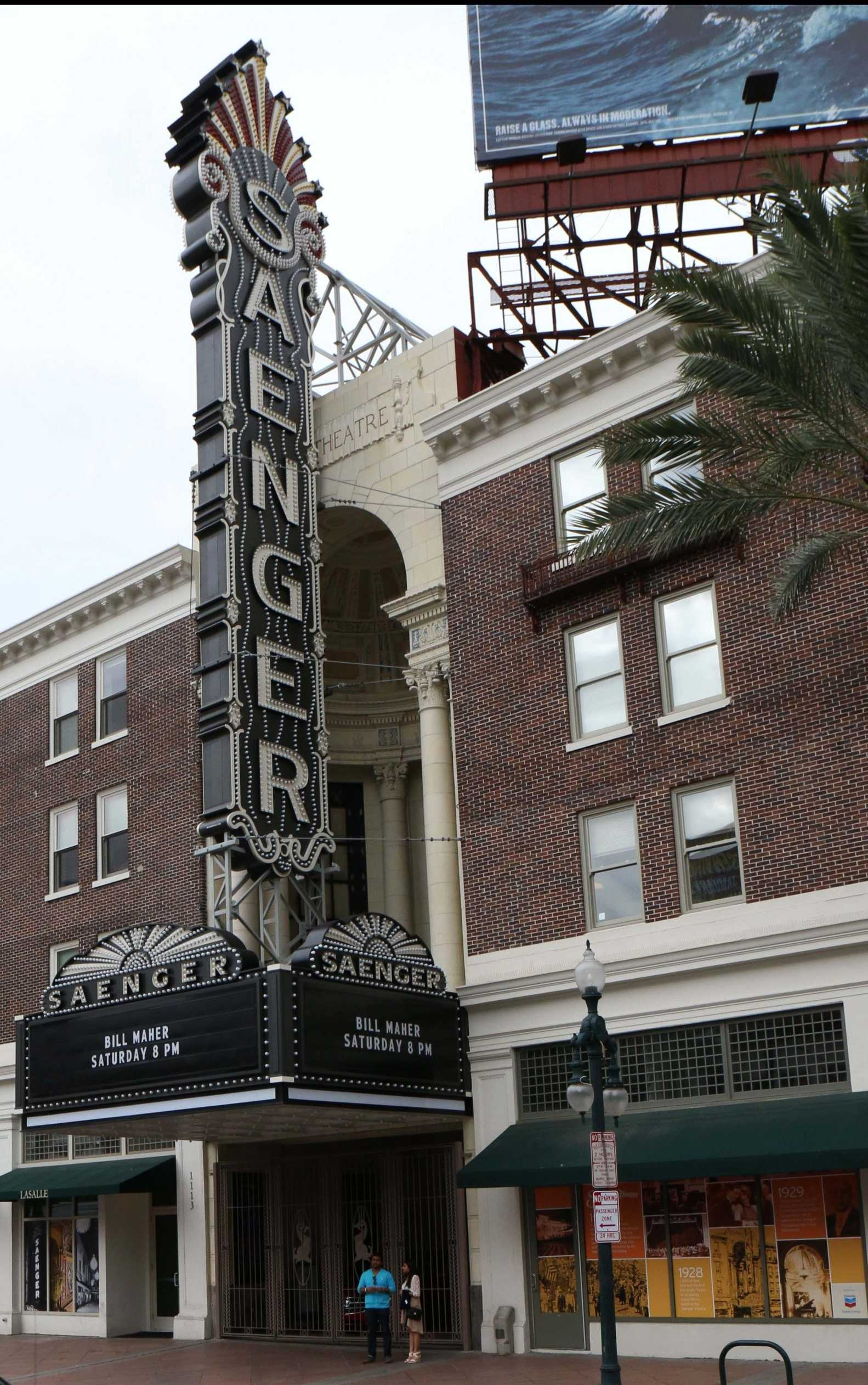 Renovated theater front of the Saenger Theatre on Canal Street. Numerous theaters around New Orleans have recently reopened to the public for events, including the Saenger Theatre.