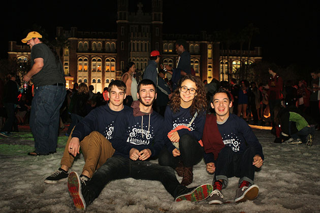 Kevin Gibbons, undecided business freshman, Ryan Lavigne, graphic design freshman, Autumn Moitoso, world religions freshman, and Jason Miranda music industry studies freshman, are all smiles while they play in the sneaux.