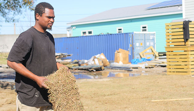 Terrance, a worker with the Make It Right Foundation, helps lay grass on the Ninth Ward site of a house intended for rent. If passed, a drafted legislation by Councilwoman Latoya Cantrell and Councilman-at-large Jason Williams would allow landlords to register their properties with the city and submit it for periodic inspections.