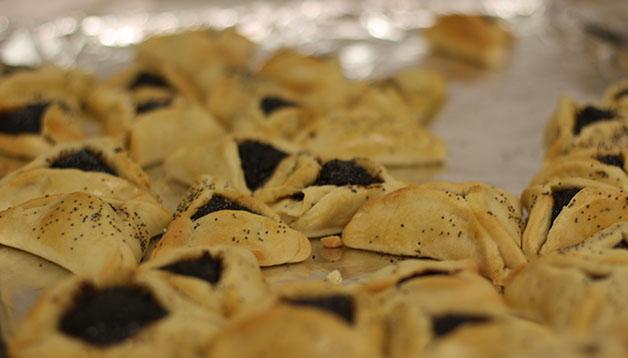 Hamantash, a Jewish dessert eaten during Purim, was served.