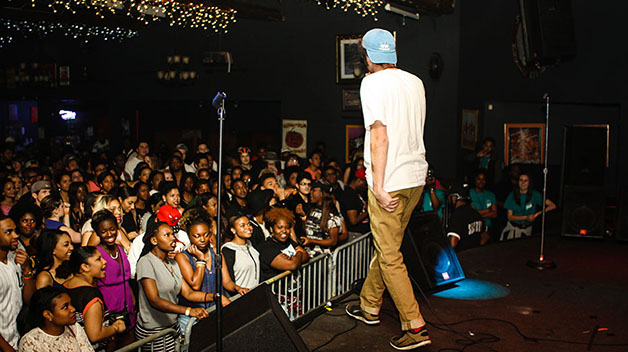 Loyola students and alumni such as Luke Caffery, music industry freshman, opened at Southport Music Hall on Thursday, March 19 for Loyola's biennale Loup Garou concert series.  Students crowded the venue in anticipation of the headlining performance by Wale.