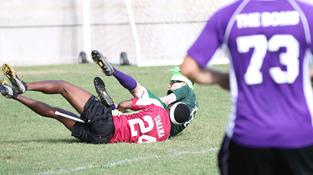 Etefia Umana, quidditch team captain makes a tackle during the team's early season game against Tulane University. Umana and the team made history this season and finished the World Cup tournament 2-3.