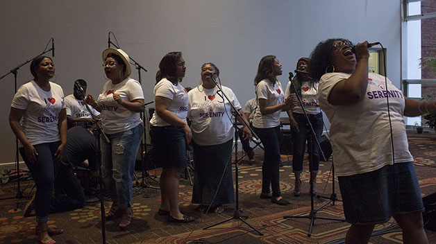 Gospel singers perform at Loyola's Gospel Fest in the St. Charles Room on April 18.  The festival brings together various gospel singers and choirs from across the area.
