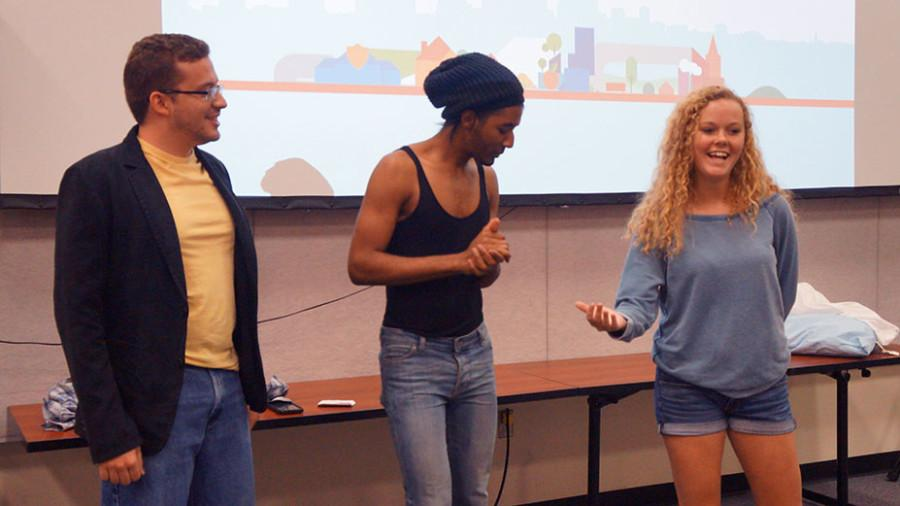 Martin Quintero (left), mass communication senior, Kenneth Motley (middle), mass communication senior, and Katie Collier (right), mass communication senior, rehearse their presentation on April 29 for the Bateman Finals. Loyola's Bateman team will be one of three schools presenting at the finals in Chicago on May 7.