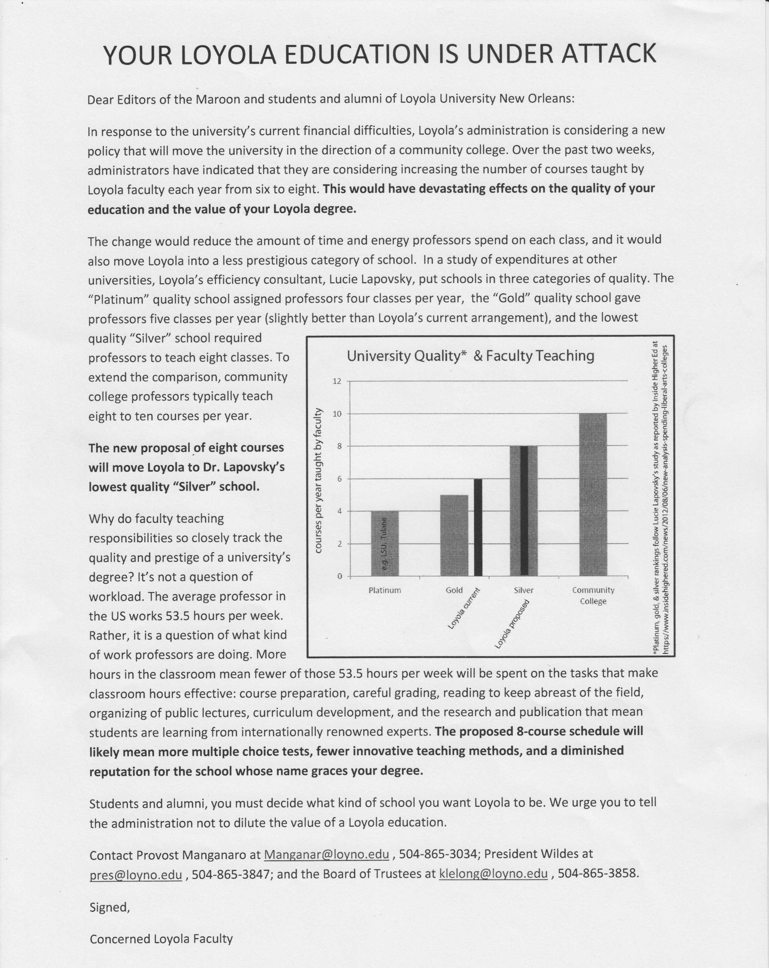 This letter from an unconfirmed source was distributed around campus raising concerns about faculty course load.