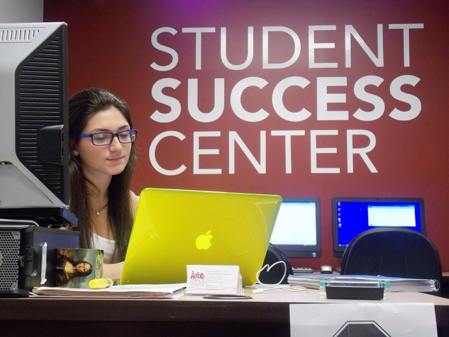 Dynna Schutz, an accounting major is one of the front desk assistants for the Student Success Center. The Academic Resource center was changed to the Student Success Center, which offers tutoring, writing help, academic and pre-health advising, and disability services.