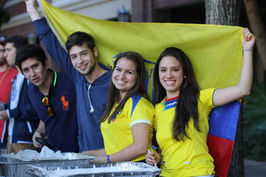 Andres Munoz, a mass communication senior, Gabriela Gallegos, a biology junior and Andrea Alarcōn, a biology junior, represent Ecuador at the International Student Association Country Fair. The association helps Loyola's international students adjust to life in New Orleans and at Loyola. Photo credit: Linda Hexter