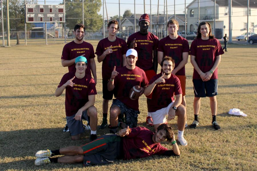 Members of the Fern Street Mob, the defending champion intramural flag football team, poses for a photograph at Easton Park. The intramural flag football season begins Oct. 3. Photo credit: Courtesy of the Athletic Department
