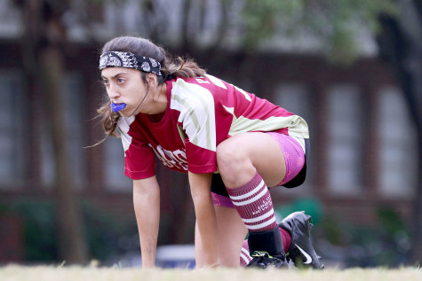 "Alex Pucciarelli, musical theatre sophomore, prepares for ""brooms up"" in a quidditch match against the University of Southern Mississippi on Tulane"