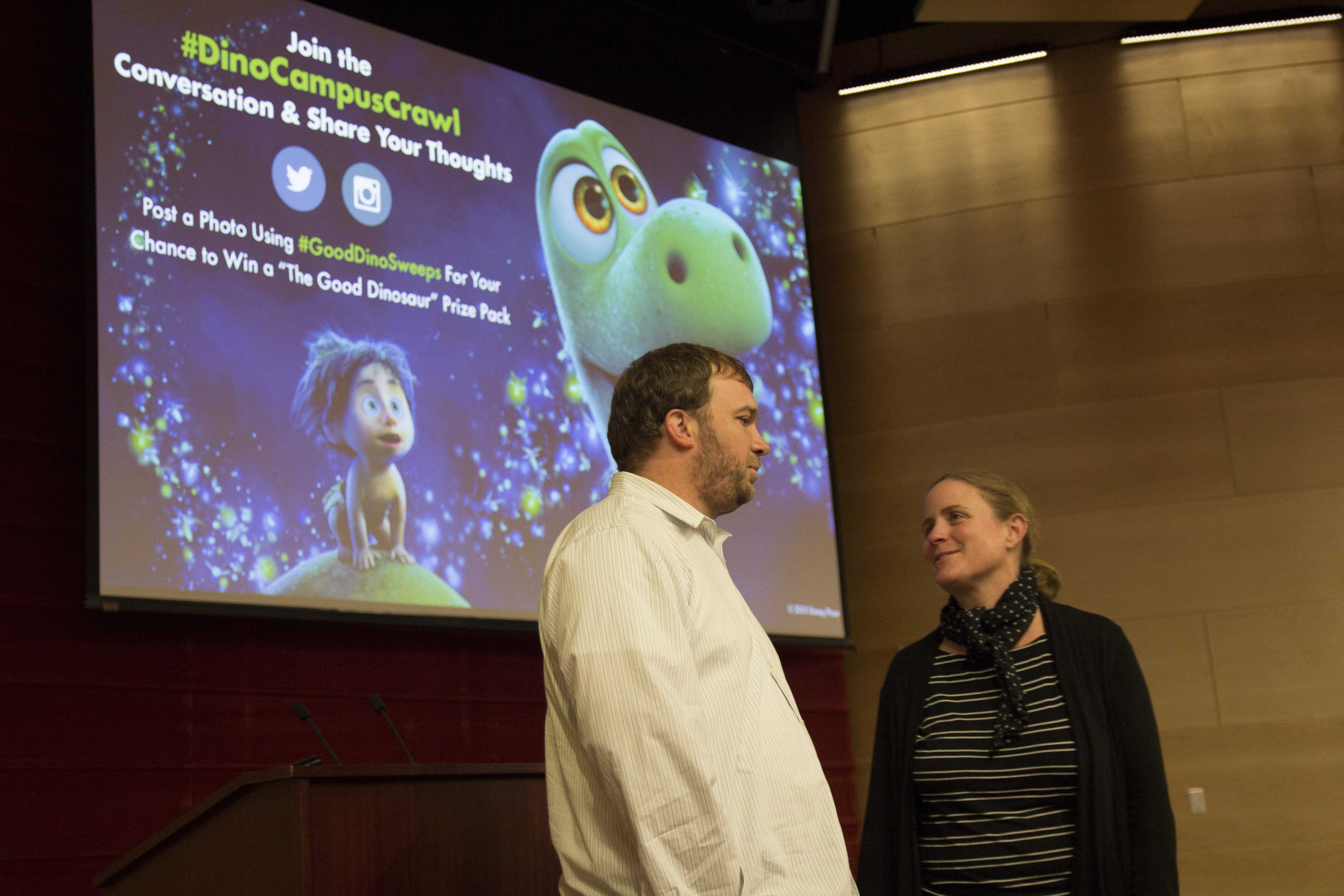 Michael O'Brien, Disney Pixar artist, and Daniela Marx, design professor, talk before the Behind the Scenes Animation Presentation in Nunemaker Auditorium on Mon. Nov. 9, 2015.