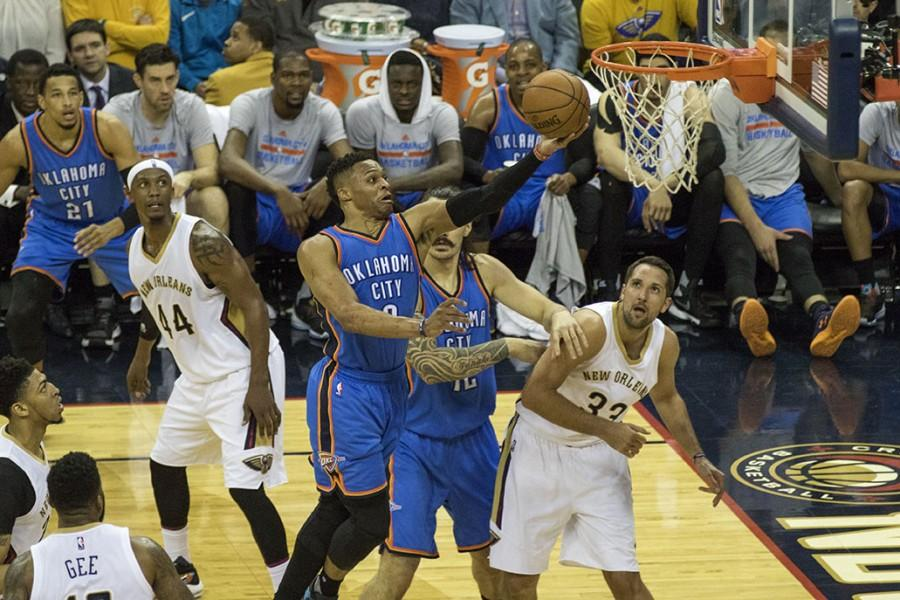 Russell Westbrook, Oklahoma City guard, drives the lane for a layup against New Orleans. Westbrook scored a game-high 44 points in a loss to New Orleans 119-123.
