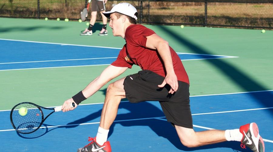 Frederico Mercado, economics junior, attempts to return the tennis ball to the other side of the court. The tennis team's next tournament will be on Feb. 27 against Tougaloo University in Jackson, Mississippi at 11 a.m.