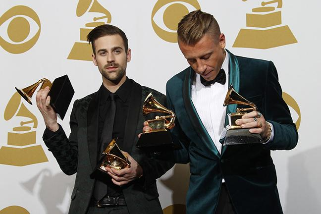 Ryan Lewis & Macklemore won four awards, including Best New Artist, Best Rap Song, Best Rap Album backstage at the 56th Annual Grammy Awards at Staples Center in Los Angeles on Sunday, Jan. 26, 2014. (Allen J. Schaben/Los Angeles Times/MCT)