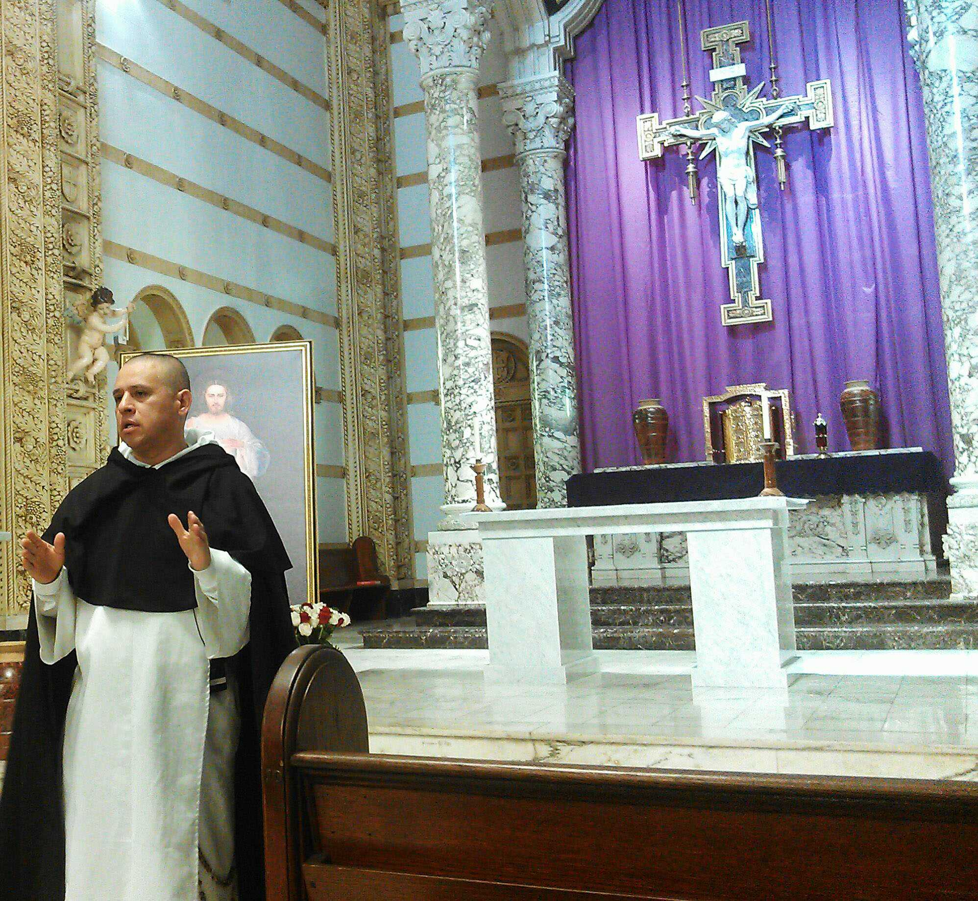 The Rev. Mariano Veliz shares his experience with God's mercy in his life at St. Anthony of Padua Church. He said God gave him the strength to his forgive his parents' decision making. Photo credit: Jamal Melancon