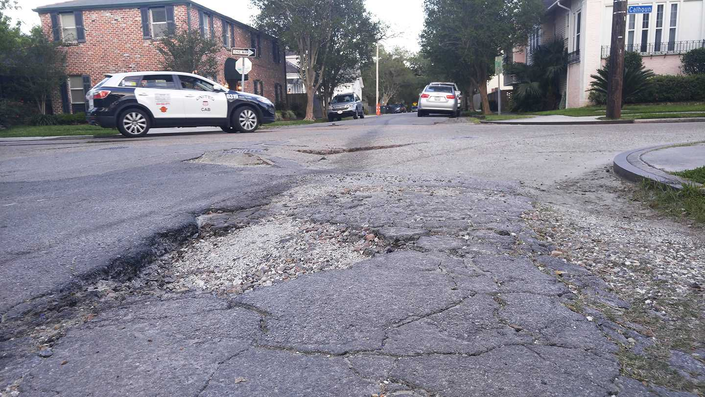 Potholes like the one shown above are littered around the streets of New Orleans, often causing expensive car repairs and unattractive streets. Fix My Streets Working Financial Group aims to work with the city to make smooth streets in New Orleans.