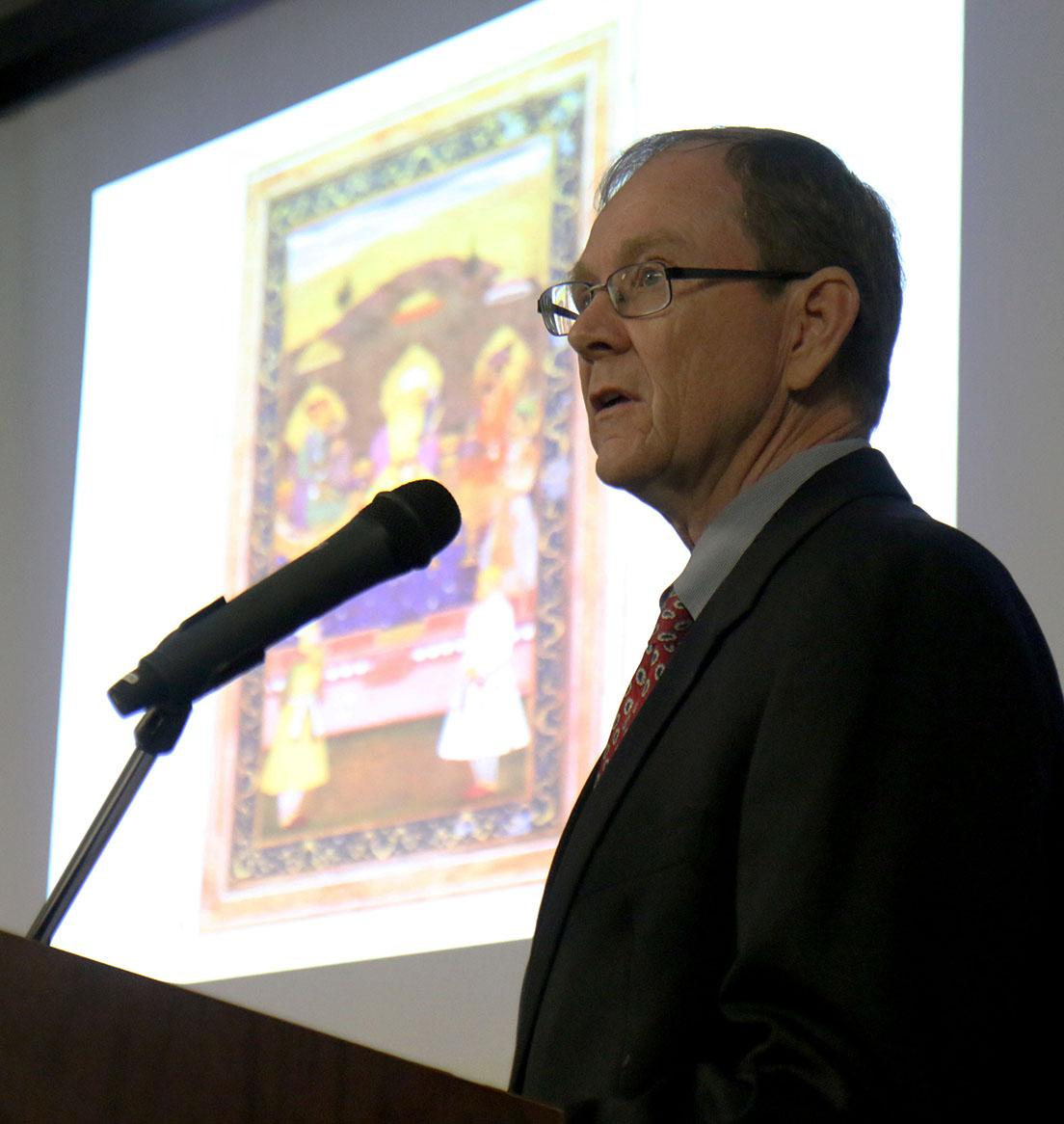 Dr. Timothy Cahill, associate religion professor, presents his work on precolonial indian literature. The lecture was a part of the the H. James Yamauchi, S.J., Lectures in Religion series for the spring of 2016.