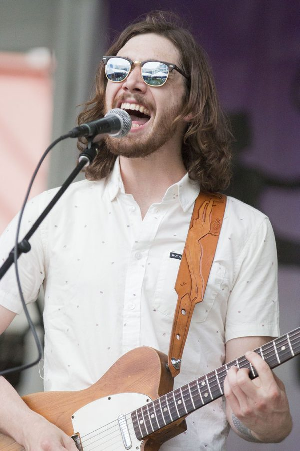 Chad Carson sings with his band, The Kid Carsons, at the Lagniappe Stage at the New Orleans Jazz and Heritage Festival.