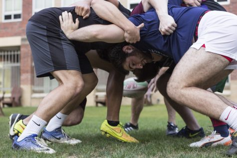 The Loyola rugby team practices a scrum during a team drill. The team will travel to Mississippi to take part in the Southern Mississippi 7's tournament on Saturday, April 23.