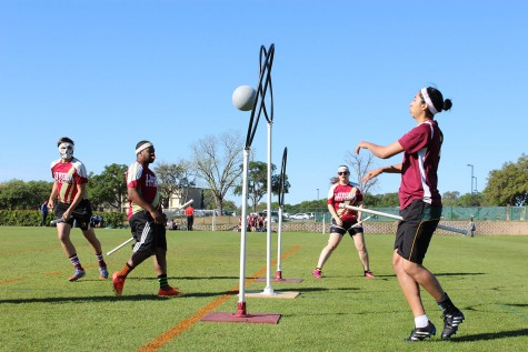 Eric Jurgeson, economics senior (left), Keevy Narcisse, history senior (center left), Caitlin Page, history senior (center right) and Valeria Carrera, foreign exchange student (right), practice drills before the team's game. The Loyola quidditch team participated in the Consolation Cup tournament on April 2 to April 3 in San Marcos, Texas.