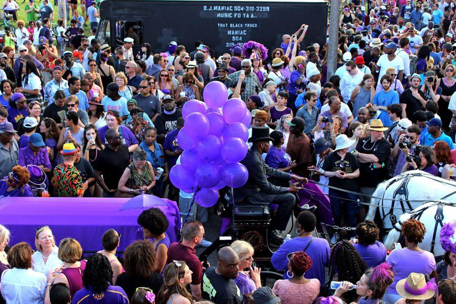 Prince fans gathered on Monday, April 25 outside the city's Treme neighborhood to honor the pop star after his death with a second line.