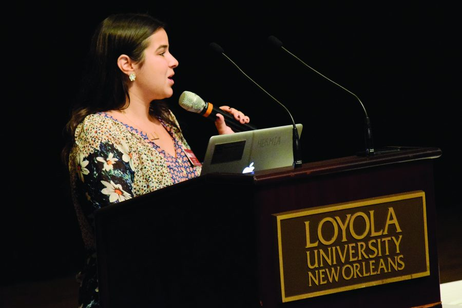 Ellie Diaz, SGA president, speaks at a Loyola event. Diaz hopes to improve communication with students this year. Photo credit: Molly Olwig