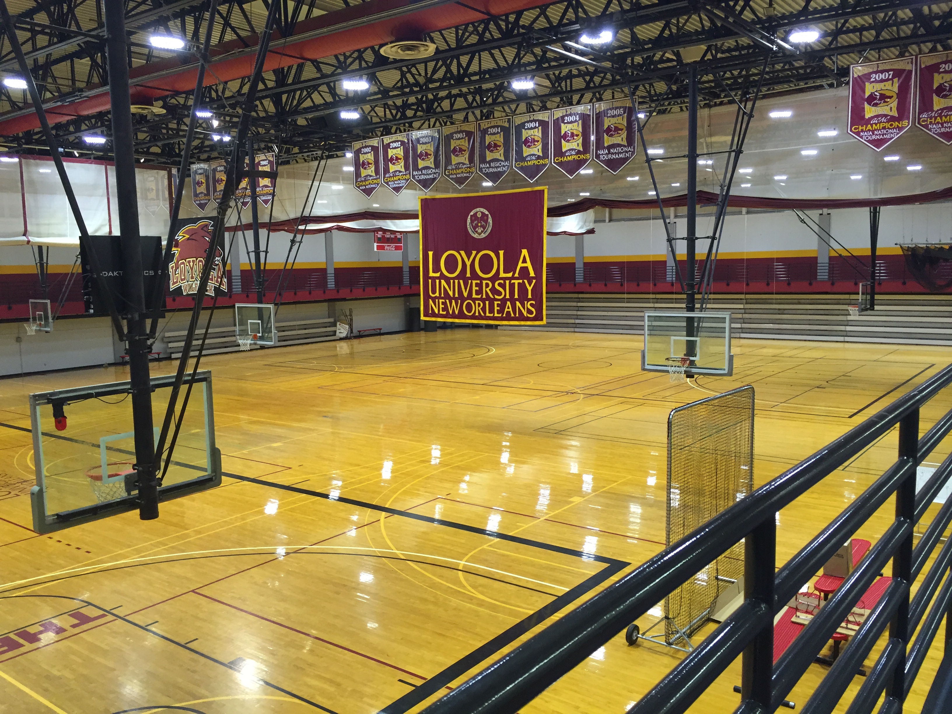 The former Den shows off its new colors on August 17. The Loyola University Sports Complex received new flooring and other renovations thanks to First NBC's $1.5 million donation. Photo credit: Ryan Micklin