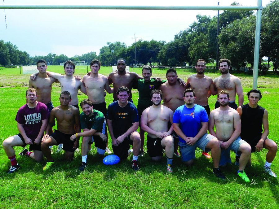 The rugby team stands together after practice. The team heads to Lafayette on Sept. 10. Photo credit: Sabelo Jupiter