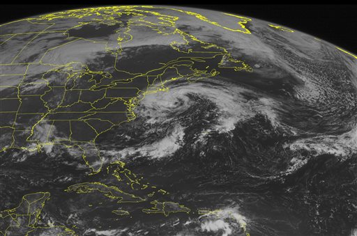 This NOAA satellite image taken Monday, Sept. 5, 2016, at 09:45 AM EDT shows post-tropical cyclone Hermine continuing to slowly move northwards towards southern New England, with the outer cloud bands making their way onshore. Hermine is expected to continually slowly move northeastward, with tropical storm warnings up for much of the southern New England coastline. Much of the eastern United States remains under high pressure and clear, although more thunderstorms are developing along the Gulf Coast. (Weather Underground via AP)