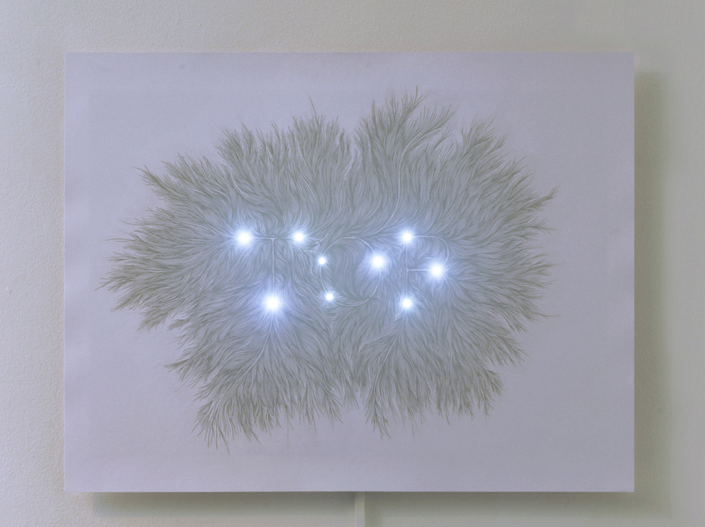 Morel created a typrography piece using conductive ink on paper, an LED and a circuit system. Her work was submitted in 2013 to be featured in productions for both the National Center for Cinema and the Le Quartier Art Center. (Courtesy of Morel)