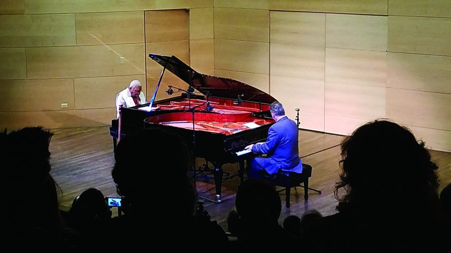 Ellis Marsalis and David Torkanowsky play a piece written by Marsalis during a Jazz Underground performance. Jazz Underground brought the two legendary musicians to campus. Photo credit: Sabelo Jupiter
