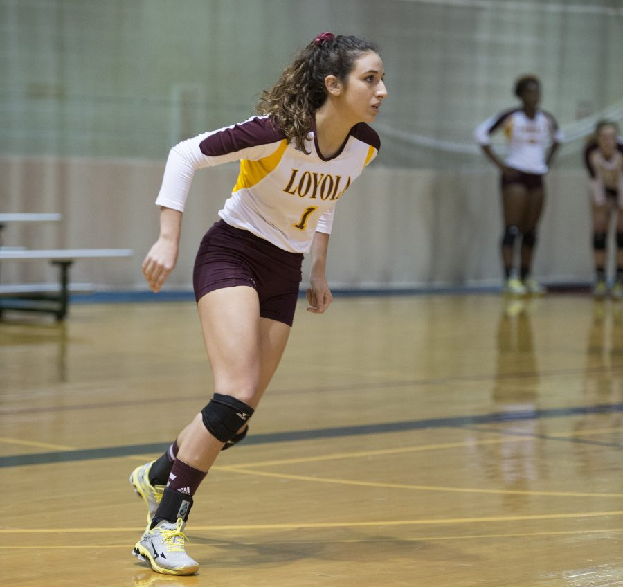 Katie Philippi play her last game with Loyola's volleyball team at the Dalton State College in the conference championships. The Loyola volleyball team finished their 2016 season with a 15-23 record. Photo credit: Courtesy of Loyola Athletics
