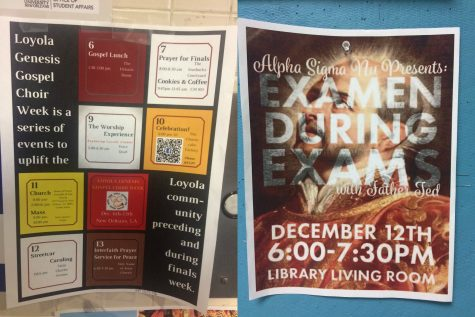 Posters around campus show various religious events happening during finals week. Photo credit: Colleen Dulle