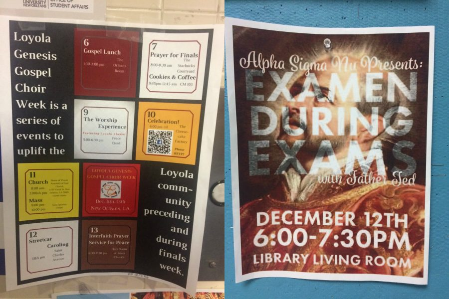 Posters+around+campus+show+various+religious+events+happening+during+finals+week.+Photo+credit%3A+Colleen+Dulle