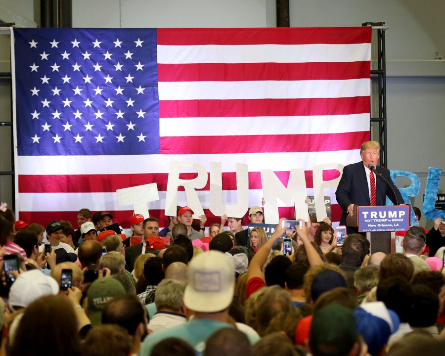 Donald Trump delivers his speech. Trump, the then- leader in the 2016 Republican presidential race, held a rally at the Lakefront Airport on Friday, March 4, 2016. Photo credit: Zach Brien