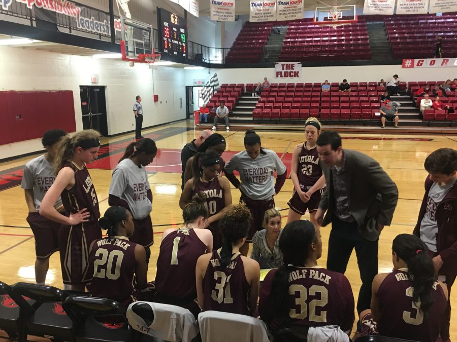 The Loyola women's basketball team huddles during a timeout in their game against Martin Methodist on Jan. 16. The team will play at home on Jan. 19 as they take on William Carey College at 5:30pm Photo credit: Eric Brown