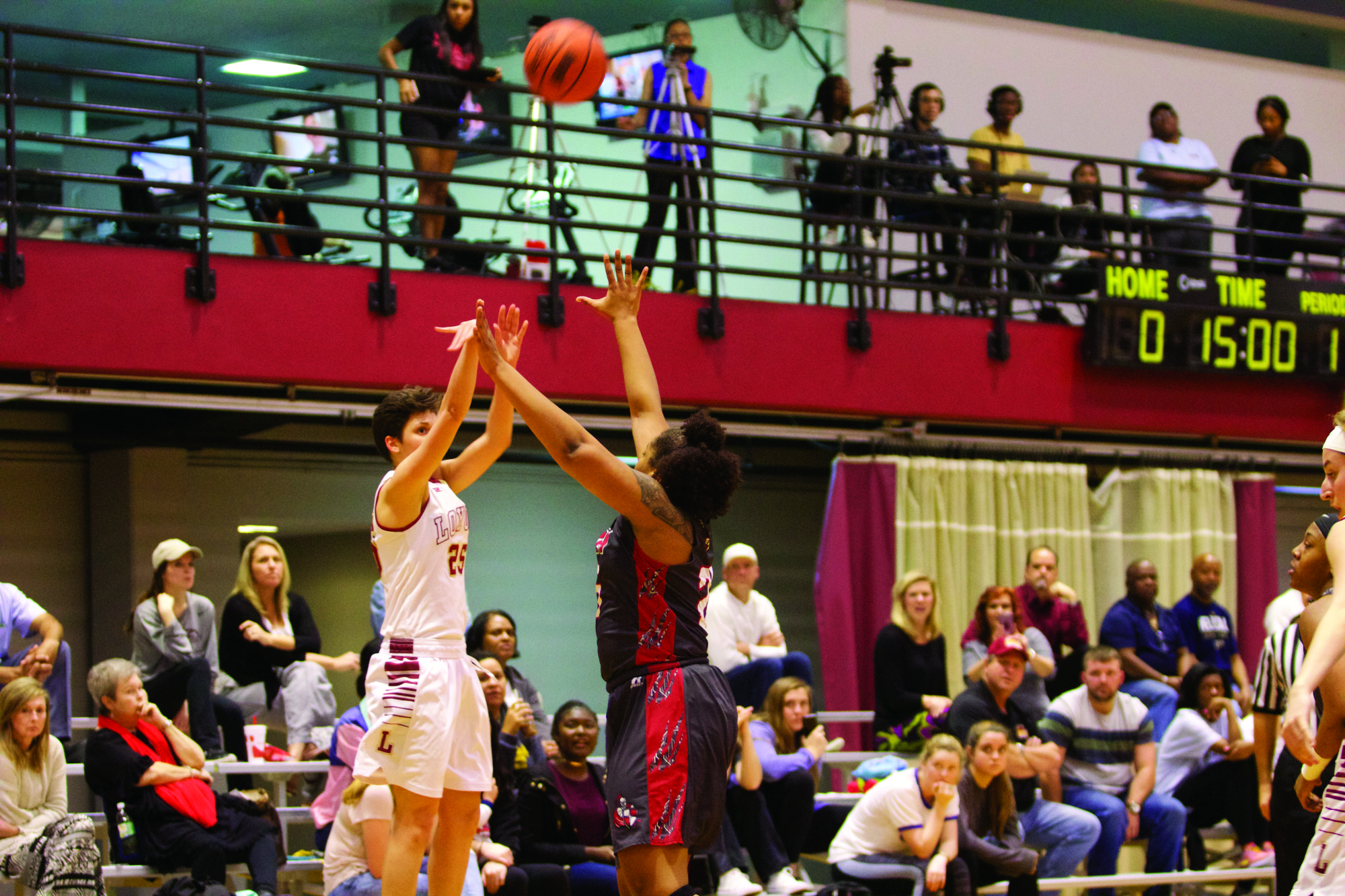 Biology and pre-med sophomore Kayla Noto takes a shot during the women's game against William Carey College on Jan. 19. The Wolf Pack defend NBC Court on Jan. 21 against Blue Mountain College. Photo credit: Marisabel Rodriguez