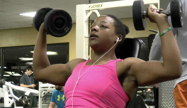 Jasmine Barnes lifts weights in her gym French Riviera Fitness. Barnes' fitness journey will culminate this upcoming July as she attempts to compete in her first local body building competition in the New Orleans metropolitan area.
